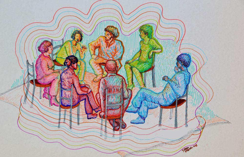 gruppo, disegno di G. Valsecchi